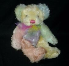 "12"" FIRST & MAIN RAINBOW SHERBET SHERBERT COLOR TEDDY BEAR STUFFED ANIMAL PLUSH"