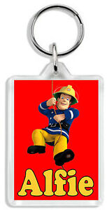 Personalised Fireman Sam Keyring /Bag Tag -Add any name! *Great Gift* Large Size