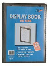 12 X A5 Negro Premium Cubierta Pantalla Libro Presentación Carpeta Cartera - 20 Pkt