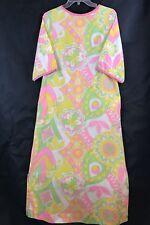 Paulette Chicago 60s Retro Pink Yellow Green White Full Length Dress Size 9-10