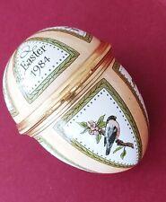 Halcyon Days Enamels Egg Shaped birds Trinket Box Easter 1984