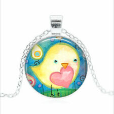 Valentine Bird Tibet silver Glass dome Necklace chain Pendant Wholesale