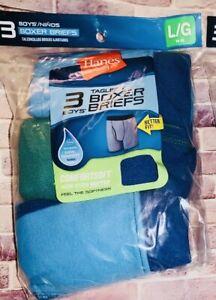 Hanes Boys Tagless Boxer Briefs 3 Pack Comfort Soft Solid Stripes Sz Large 14-16