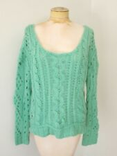 NWT Free People Mint Green Chunky Loose Knit Wool Mohair Cropped Scoop Sweater M