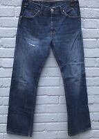Levi 506 Straight Leg Fabric Patch Irregular Midwash Jeans W33 L32