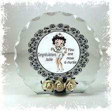 Betty Boop, Nurse Graduation, Cut Glass Round Plaque  Limited Edition #1