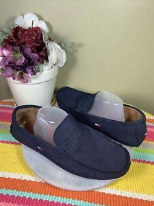 Tommy Hilfiger Blue Suede Moc Penny Loafer Boat Shoes Men's Size EU 44.5 US 11 M