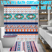 Bohemia Waterproof Bathroom Shower Curtain Toilet Cover Mat Non-Slip Rug Set *