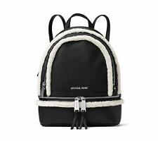 NEW! MICHAEL KORS Rhea Zip Medium Leather Backpack-Black/Natural
