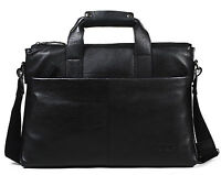 "Men Real Leather Attache Case 16"" Laptop Briefcase Shoulder Messenger Bag Black"