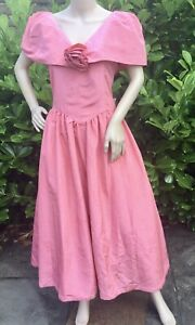 Bespoke 80's Bridesmaid Vintage Costume Dress Victorian Pink Bustle 12 Approx