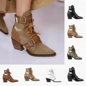 Womens Lace Up Roman Block Heels Hollow Out Pointed Toe Ankle Boots Pumps Shoes