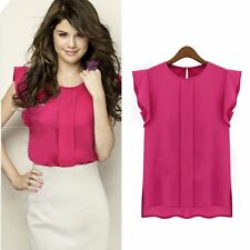 Office Lady Ruffle Sleeve Shirt Round Neck Blouse Women Career Solid Chiffon Top