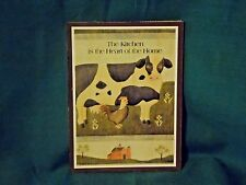 Vintage Folk Art Sign 8 x 6x 1/4 Cow plaque the kitchen is the heart of the home