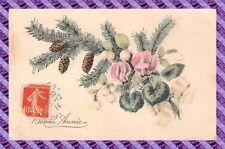 CPA Fantaisie fleur et pomme de pin