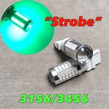 Strobe Flash Reverse Backup Light T25 3156 3456 4156 Green LED Bulb W1 JA
