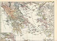 c. 1890+ ANCIENT GREECE Antique Map