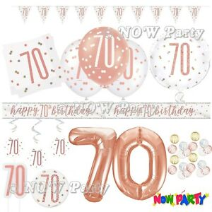 Rose Gold 70th Birthday Party Decorations Girls Ladies Balloons Banners Age 70