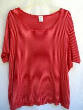 Vtg.Red & White.Striped.Cot/ Poly.Tunic.Scoop Neck.Top.New.sz 4X