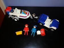 PLAYMOBIL #3198 Blue Jeep & Speedboat with Trailer , Vintage, Incomplete