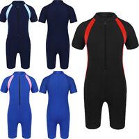 Kid Girls One-piece Swimwear Short Sleeve Rash Guard Zippered Bathing Wetsuit