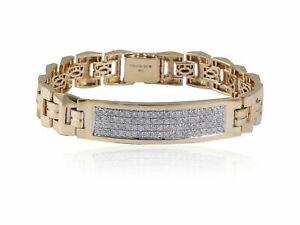 Pave 1.92 TCW Round Brilliant Cut Diamonds Men's Bracelet In Hallmark 14K Gold