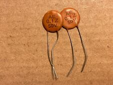 2 Nos 1960s Arco Ceramic Disk .1 uf 50v Bass Guitar Tone Capacitors Test Good