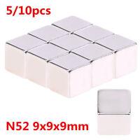 10x Starke Neodym Magnete Quader N52 9x9x9 mm Super Magnet Haltemagnete Pinnwand