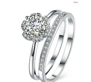 925 Sterling Silver Solitaire Ring Women's Wedding Engagement Prom Set UK SELLER