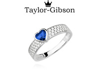 925 Sterling Silver Heart Ring Blue Clear Cubic Zirconia Size K