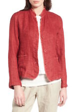 Eileen Fisher Petite organic linen stand collar double weave red jacket PM P M