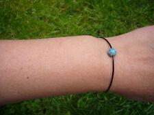 Bracelet perle Ancienne TURQUOISE semi-précieuse - Cordon cuir véritable -