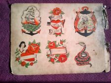 AWESOME RARE DOUBLE-SIDED ORIGINAL 1920-30s CLASSIC  BOWERY TATTOO FLASH SHEET