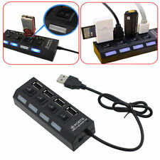 4 Port USB2.0 Hub High Speed Power On/Off Button Switch for Laptop PC Black LED