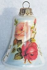 VTG KREBS WEST GERMANY GLASS BELL CHRISTMAS ORNAMENT ROSES