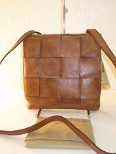 Patricia Nash Brown Leather Woven Granada Crossbody Messenger Bag $149