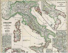 Vera 171 anni vecchia CARTINA ITALIA Longobardi Italia Longobardia 1846