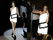 NWT LAMB Gwen Stefani Roman Layered One Shoulder Mini Dress white black S 6