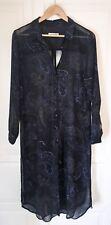 Zara Shirt Dress - Sheer Black With Blue & Bronze Paisley Print - UK XL Stunning