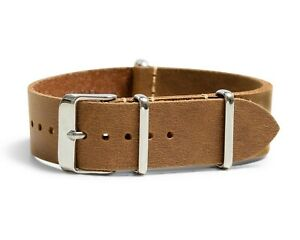 Oiled Leather Military Style One-Piece Watch Band - Sand - 18, 20, 22 or 24mm