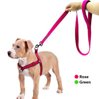Reflective No-Pull Nylon Dog Harness & Leash set Mesh Padded Front Leading Vest