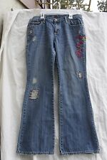 LILU  sz 11 Floral Embroidery Cotton Jeans (34x30) Flare Med Wash Boho distress