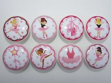 Girls Dance Pink Ballet Ballerina Dresser Drawer Knobs Set of 8