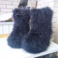 Women real hairy Ostrich Feather furry Fur flat snow boots Long tube Winter Boot