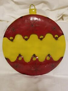Upcycled Metal Christmas Ornament Red/Yellow Yard/Garden Decor Large Giant Art
