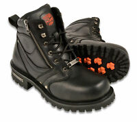 "Mens Black Leather Motorcycle Boots, 6"" Tall, Side Zipper, Plain Toe"