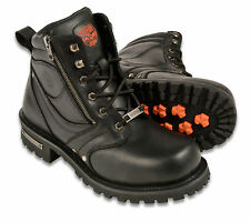 """Mens Black Leather Motorcycle Boots, 6"""" Tall, Side Zipper, Plain Toe"""