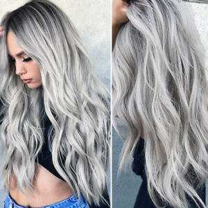 Fashion Women Gray Ombre Long Curly Wavy Wig Hair Wigs Synthetic Cosplay Wigs