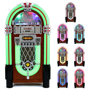 Vintage Jukebox Retro CD Player Machine Bluetooth 1950s LED Lights Free Standing