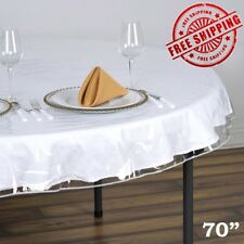 Clear Vinyl Tablecloth Durable Plastic Table Round Cover Spills Protector 70inch